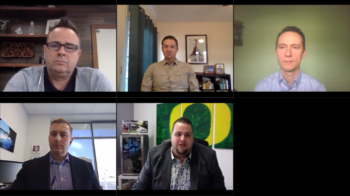 Michael DeLaGrange, Brent Sheppard, Robert Knop, Tyler McConvill on the Connected Insurance Podcast presented by Agency Revolution